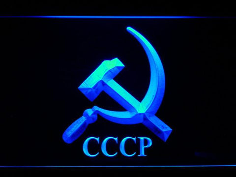 Hammer and Sickle CCCP LED Neon Sign - Blue - SafeSpecial