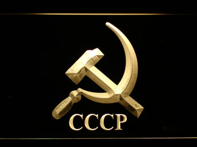 Hammer and Sickle CCCP LED Neon Sign - Yellow - SafeSpecial