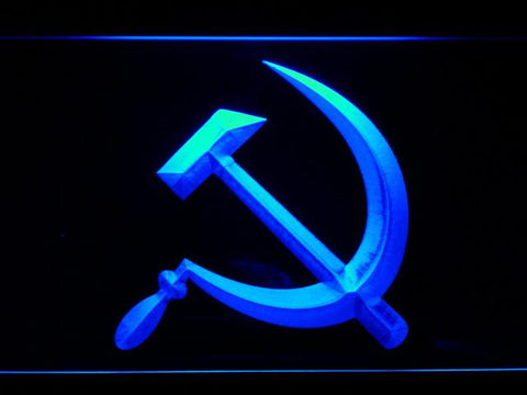 Hammer and Sickle LED Neon Sign - Blue - SafeSpecial