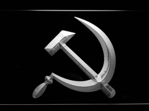 Hammer and Sickle LED Neon Sign - White - SafeSpecial
