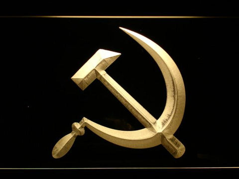 Hammer and Sickle LED Neon Sign - Yellow - SafeSpecial
