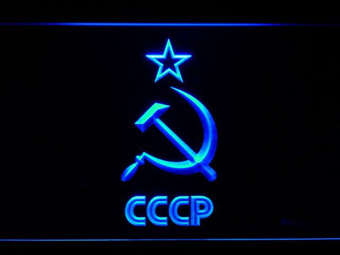 Image of Hammer and Sickle Star CCCP LED Neon Sign - Blue - SafeSpecial