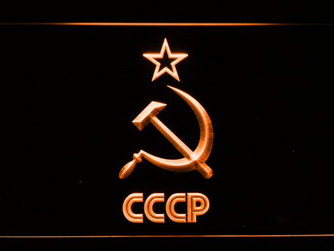 Image of Hammer and Sickle Star CCCP LED Neon Sign - Orange - SafeSpecial