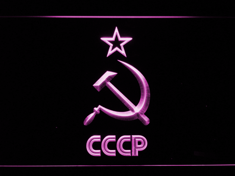 Image of Hammer and Sickle Star CCCP LED Neon Sign - Purple - SafeSpecial