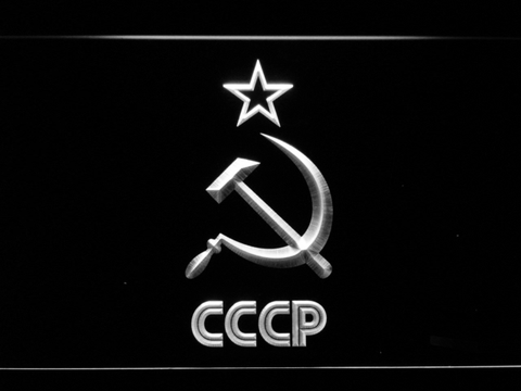 Image of Hammer and Sickle Star CCCP LED Neon Sign - White - SafeSpecial