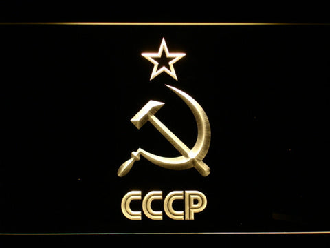 Image of Hammer and Sickle Star CCCP LED Neon Sign - Yellow - SafeSpecial