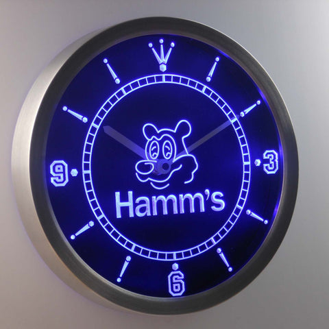 Image of Hamm's Bear LED Neon Wall Clock - Blue - SafeSpecial
