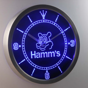 Hamm's Bear LED Neon Wall Clock - Blue - SafeSpecial