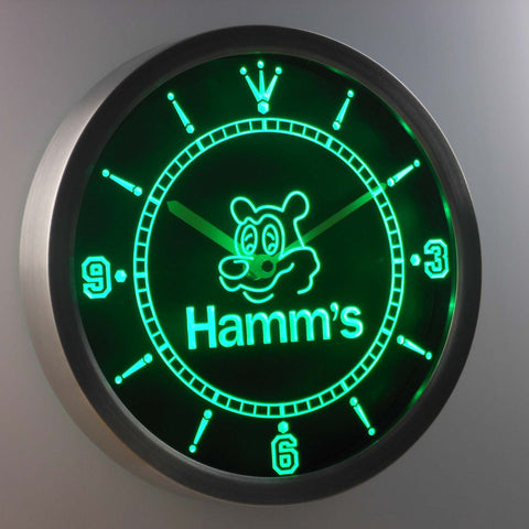 Image of Hamm's Bear LED Neon Wall Clock - Green - SafeSpecial