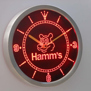 Hamm's Bear LED Neon Wall Clock - Red - SafeSpecial