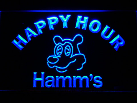 Hamm's Happy Hour LED Neon Sign - Blue - SafeSpecial