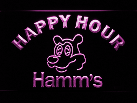 Hamm's Happy Hour LED Neon Sign - Purple - SafeSpecial