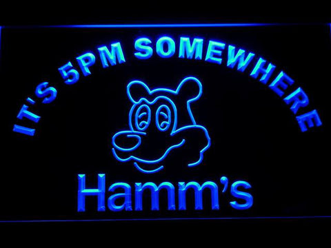 Hamm's It's 5pm Somewhere LED Neon Sign - Blue - SafeSpecial