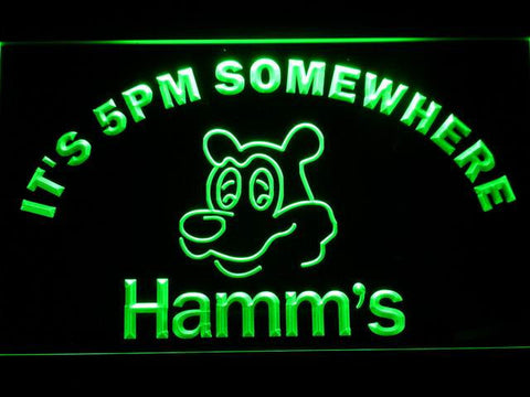 Hamm's It's 5pm Somewhere LED Neon Sign - Green - SafeSpecial