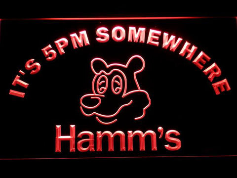 Hamm's It's 5pm Somewhere LED Neon Sign - Red - SafeSpecial