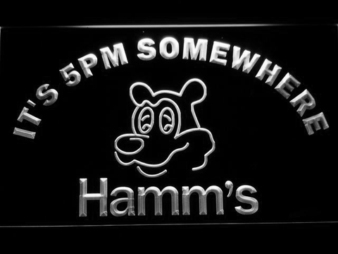 Hamm's It's 5pm Somewhere LED Neon Sign - White - SafeSpecial