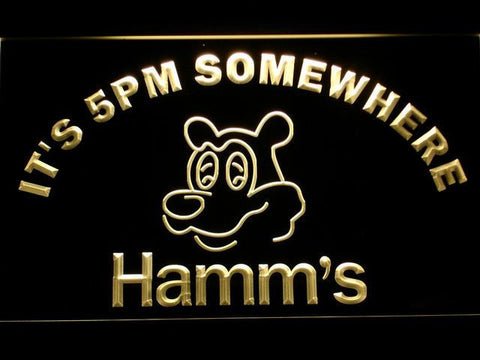 Hamm's It's 5pm Somewhere LED Neon Sign - Yellow - SafeSpecial