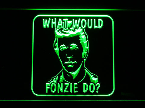 Image of Happy Days What Would Fonzie Do LED Neon Sign - Green - SafeSpecial