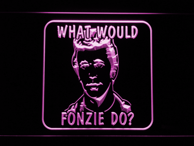 Happy Days What Would Fonzie Do LED Neon Sign - Purple - SafeSpecial
