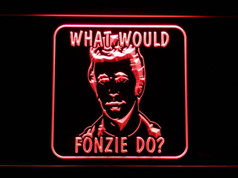 Image of Happy Days What Would Fonzie Do LED Neon Sign - Red - SafeSpecial