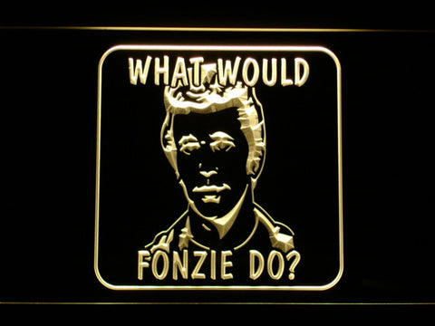 Image of Happy Days What Would Fonzie Do LED Neon Sign - Yellow - SafeSpecial