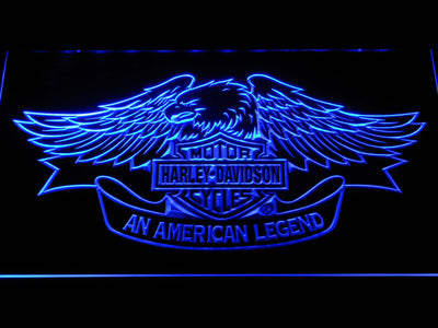 Harley Davidson American Legend LED Neon Sign - Blue - SafeSpecial