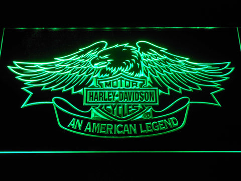 Image of Harley Davidson American Legend LED Neon Sign - Green - SafeSpecial