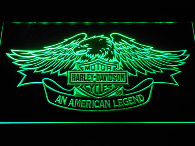 Harley Davidson American Legend LED Neon Sign - Green - SafeSpecial