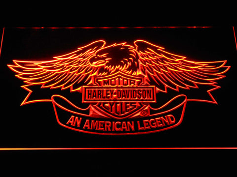 Harley Davidson American Legend LED Neon Sign - Orange - SafeSpecial