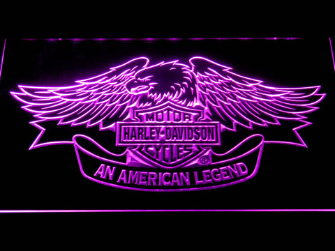 Image of Harley Davidson American Legend LED Neon Sign - Purple - SafeSpecial