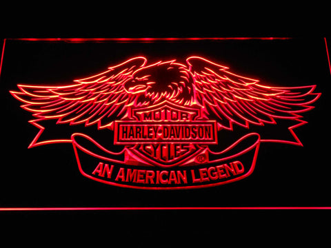 Image of Harley Davidson American Legend LED Neon Sign - Red - SafeSpecial