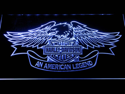 Harley Davidson American Legend LED Neon Sign - White - SafeSpecial