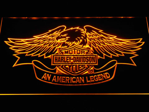 Image of Harley Davidson American Legend LED Neon Sign - Yellow - SafeSpecial