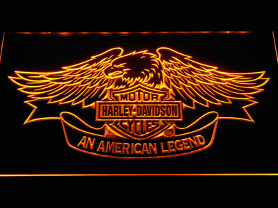 Harley Davidson American Legend LED Neon Sign - Yellow - SafeSpecial