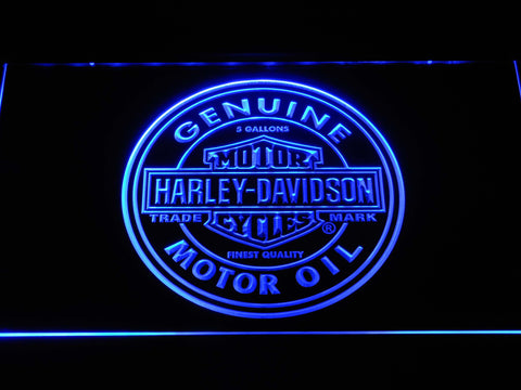 Image of Harley Davidson Genuine Motor Oil LED Neon Sign - Blue - SafeSpecial