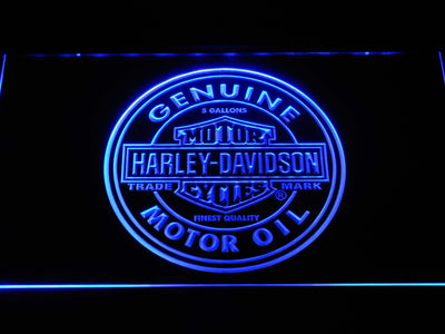 Harley Davidson Genuine Motor Oil LED Neon Sign - Blue - SafeSpecial