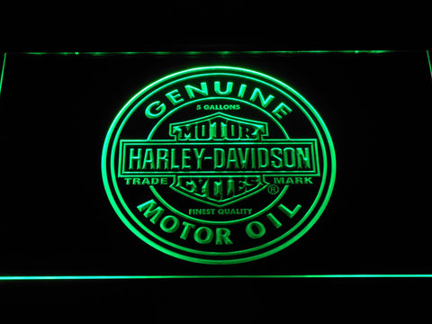 Image of Harley Davidson Genuine Motor Oil LED Neon Sign - Green - SafeSpecial