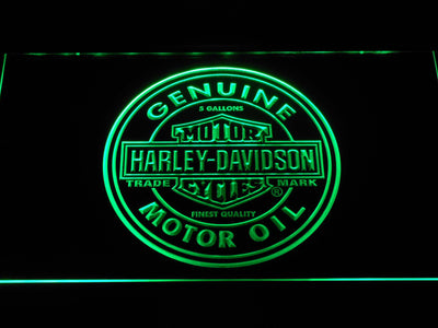 Harley Davidson Genuine Motor Oil LED Neon Sign - Green - SafeSpecial