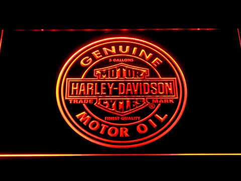 Image of Harley Davidson Genuine Motor Oil LED Neon Sign - Orange - SafeSpecial