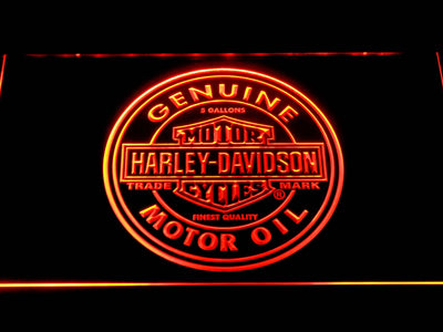 Harley Davidson Genuine Motor Oil LED Neon Sign - Orange - SafeSpecial