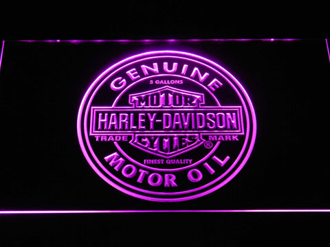 Image of Harley Davidson Genuine Motor Oil LED Neon Sign - Purple - SafeSpecial