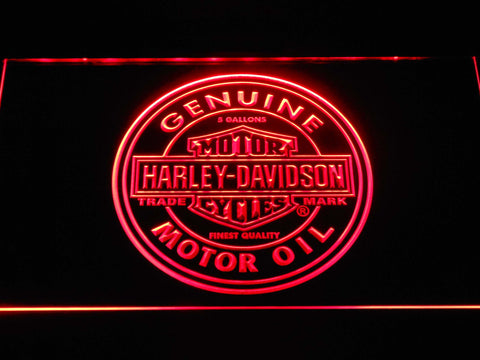 Image of Harley Davidson Genuine Motor Oil LED Neon Sign - Red - SafeSpecial