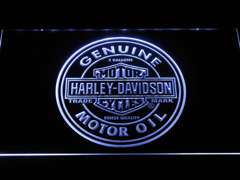 Image of Harley Davidson Genuine Motor Oil LED Neon Sign - White - SafeSpecial
