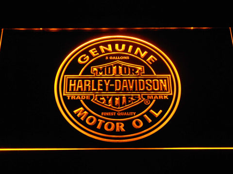 Image of Harley Davidson Genuine Motor Oil LED Neon Sign - Yellow - SafeSpecial
