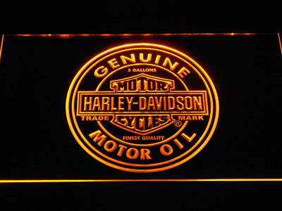 Harley Davidson Genuine Motor Oil LED Neon Sign - Yellow - SafeSpecial