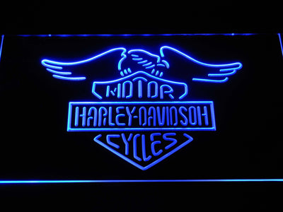 Harley Davidson Motorcycles LED Neon Sign - Blue - SafeSpecial