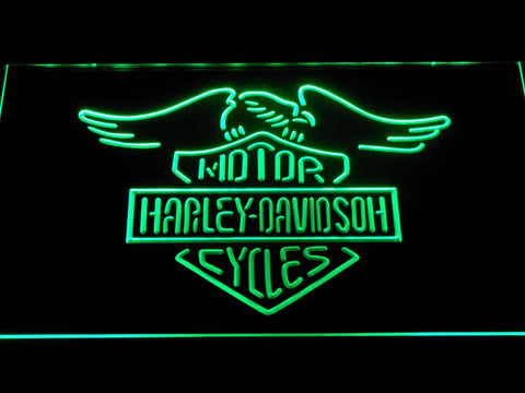 Image of Harley Davidson Motorcycles LED Neon Sign - Green - SafeSpecial