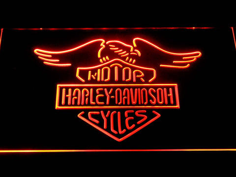 Harley Davidson Motorcycles LED Neon Sign - Orange - SafeSpecial