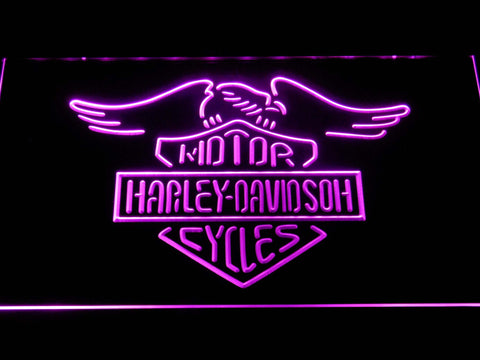 Image of Harley Davidson Motorcycles LED Neon Sign - Purple - SafeSpecial