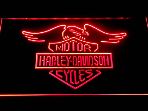 Image of Harley Davidson Motorcycles LED Neon Sign - Red - SafeSpecial